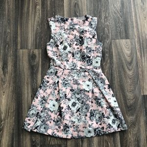 Pink and Gray A Line Dress